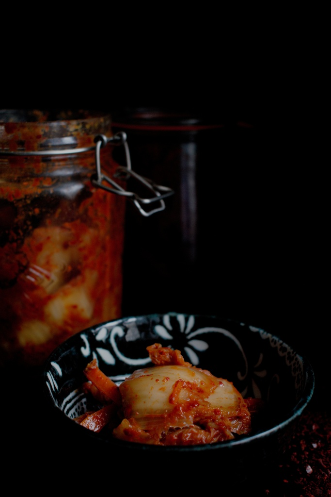 Close up of fermented kimchi