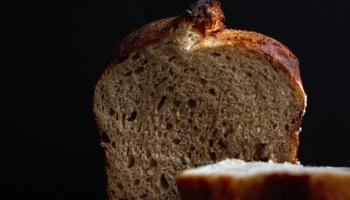 Close up of sourdough bread crumb