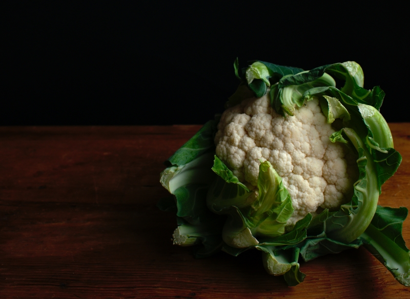 Cauliflower on a wooden table