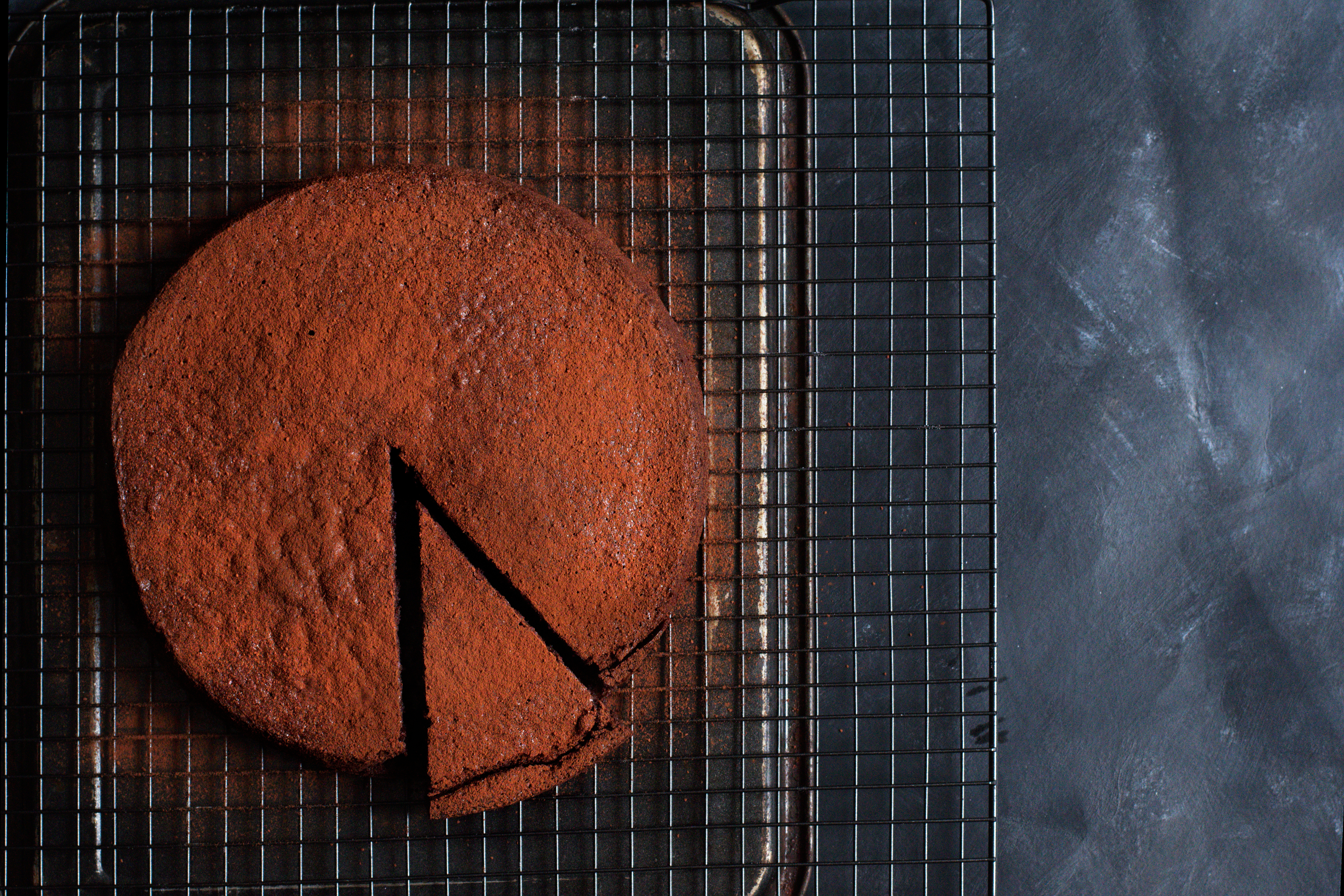 Chocolate olive oil cake from above