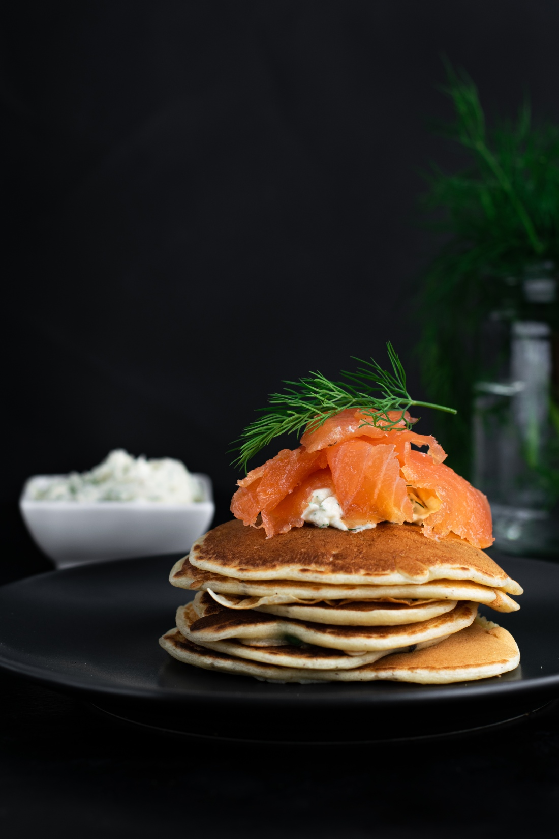 Gravlax on buttermilk and spring onion pancakes