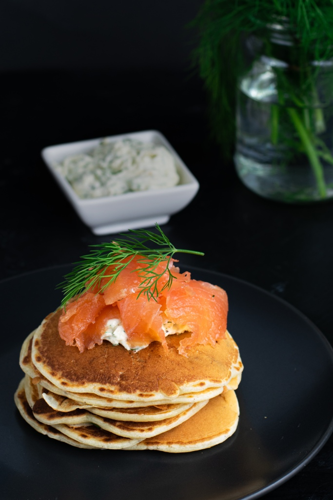 Gravlax with spring onion pancakes