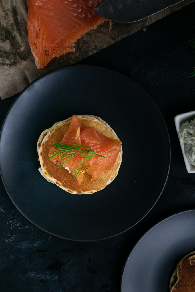 Gravlax on savoury buttermilk pancakes