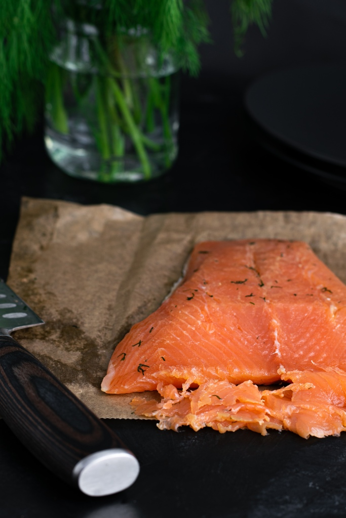 Gravlax being sliced